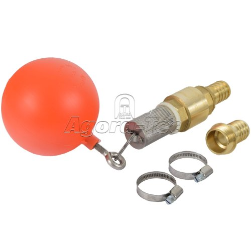 Agora-Tec® Ansaug-Set 1 Zoll bestehend aus (Schwimmerkugel, Saugkorb, Ringschraube und Schlüsselring aus Edelstahl + Messing Rückschlagventil + 2 Stück Schlauchschelle Edelstahl W4 für Schlauch- Ø von 25 - 40mm für 1 Zoll Schlauch + 2 Stück Messing Schlauchtüllen 1 Zoll (33,3 mm) Außengewinde)