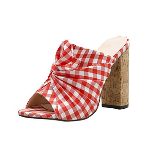 Mitlfuny Damen Sommer Sandalen Bohemian Flach Sandaletten Sommer Strand Schuhe,Frauen Sommer lässig ländlichen Stil Subnetz Tuch Mode dick mit High Heels