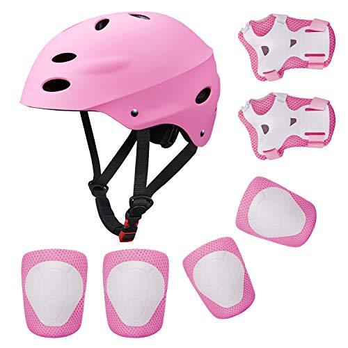 Topfire Kinder Scooter BMX Bike Helm, Hand-Knie, Ellenbogen Pads und Gel Pads - Rosa - S