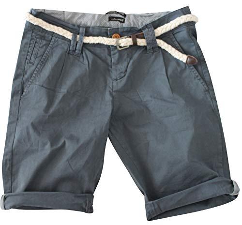 STS 15 Farben Damen Jeans Bermuda Short by Boyfriend Look tiefer Schritt Jeansbermuda mit Kontrastnähten Washed Kurze Hose (XS, Bleached Indigo)