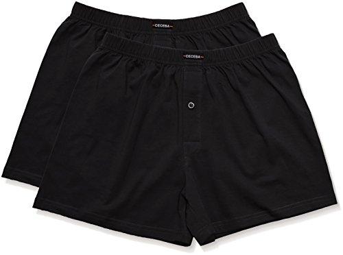 Ceceba Herren Boxershorts Shorts, 2er Pack, Einfarbig, Schwarz (black 9000) ,L  (Herstellergröße:6)