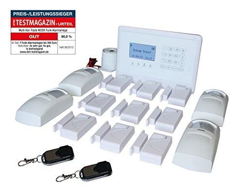 GSM Funk-Alarmanlage Set von Multi Kon Trade I Alarmanlage Komplettsystem M2BX Set-4 I Touch Alarmanlage mit Bewegungsmelder, Tür- und Fensterkontakt, Fernbedienung, Externe Sirene und App Steuerung