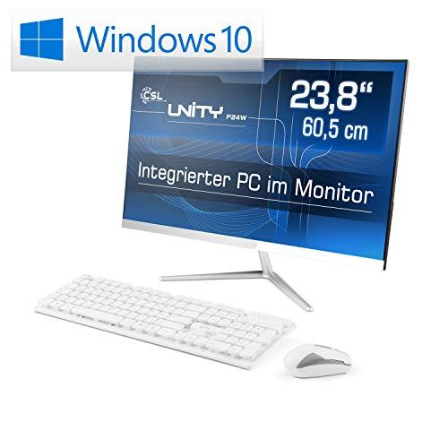 Lautloser All-in-One PC 60,5cm (23,8 Zoll) - CSL Unity F24W / 500GB / Win10 Home - Silent-PC mit Intel QuadCore CPU 4X 2300MHz, 500GB SSD, 4GB RAM, AC WLAN, USB 3.1