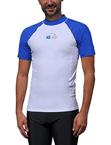 iQ-UV Herren UV 300  Slim Fit Kurzarm T-Shirt, mehrfarbig (Blau /Weiss), S (48)