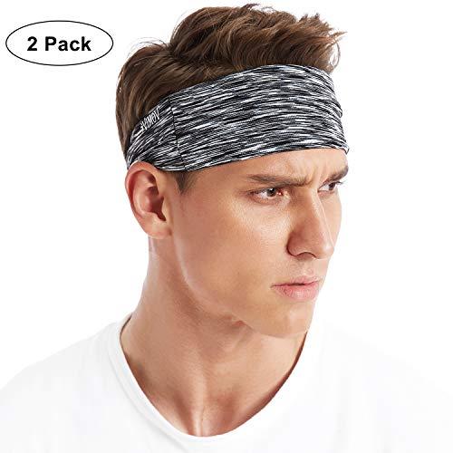 VIMOV 2 Pack Sports Stirnband Einstellbare Schweißband für Herren Damen, Feuchtig keitstransport & Anti-Rutsch, Fit Alle Sports Laufen, Yoga, Ausarbeiten, Basketball