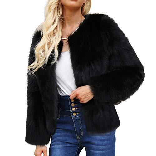 AMUSTER Damen Mantel Fell Jacke Frauen Winter Fur Jacke Fellmantel Parka Kunstpelz Mantel Damen Mantel Winter Elegant Warm Faux Fur Kunstfell Jacke Kurz Mantel Coat
