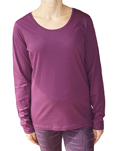 Damen Langarmshirt 100% kbA Bio-Baumwolle GOTS Pyjamaoberteil Nachtwäsche Schlafanzug T-Shirt (L-40 aubergine)
