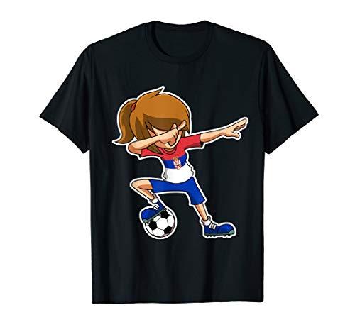 Dabbing Fußball Mädchen Serbien Trikot, Serbisch Kinder Dab T-Shirt