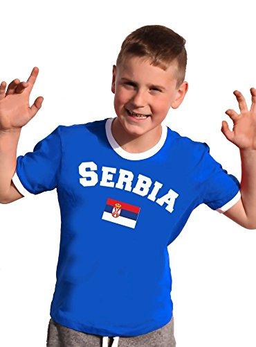 Coole-Fun-T-Shirts Serbien T-Shirt Kinder Ringer Weiss-rot, 128