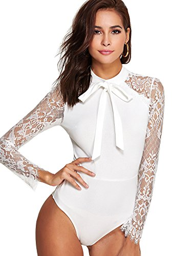DIDK Damen Elegant Langarm Body mit Spitze Ärmeln und Schleife Bodysuit Weiß L