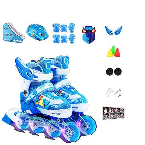 ZCRFY Kinder Inliner Skates Für Anfänger Verstellbar Set mit Schutzset Helm Rucksack Rollschuhe Mädchen Jungen Kinderinliner Kleinkinder Inlineskates - Größenverstellbar über - Leuchtende,Blue-L