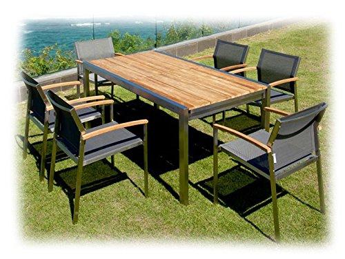 KUBEX & SETAX Gartenmöbel Sitzgruppe E 7-teilig Gartenset Zebra Teak recycelt & Batyline Anthrazit