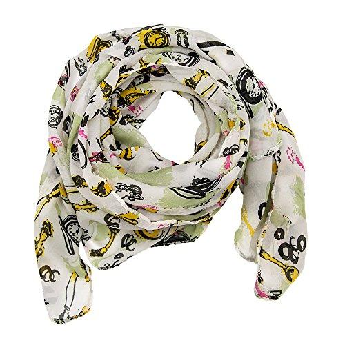 MANUMAR Schal Uhren weiß gelb schwarz Schal Damen Schal Tuch Sommer Frühling Geschenk Freundin Damen