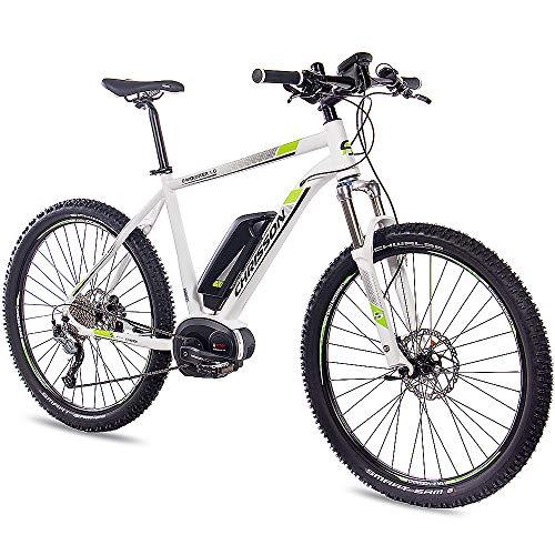 CHRISSON 27,5 Zoll E-Bike Mountainbike Bosch - E-Mounter 1.0 Weiss 48cm - Elektrofahrrad, Pedelec für Damen und Herren mit Bosch Motor Performance Line 250W, 63Nm - Intuvia Computer und 4 Fahrmodi
