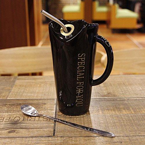 WU-Mug Kreative cute einfache Tasse Trinkbecher Personalisierte Keramik Becher mit großer Kapazität Saugleitung wasser Schüssel Office Home Cup