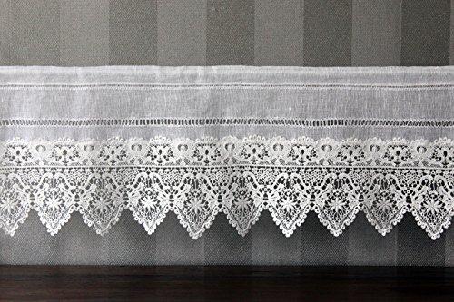 Gardine Landhaus Leinen Shabby Chic Vintage Baumwolle Spitze 80x30