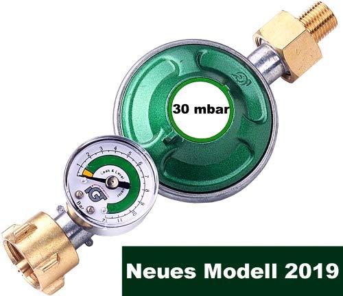 CAGO Gasregler 30 mbar mit Manometer Gas Füllstandsanzeige Schlauchbruchsicherung Propangas Druckminderer Camping Druckregler für Propan Butan Gasflasche