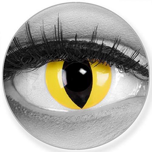 Funnylens Farbige Kontaktlinsen Cat Eye in gelb Katzenauge weich ohne Stärke 2er Pack + gratis Behälter - 12 Monatslinsen - perfekt zu Halloween Karneval Fasching oder Fasnacht
