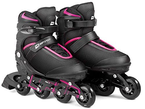 Hop-Sport 3in1 Inliner Inlineskates/Roller / Triskates für Damenr/Verstellbar / Farbe: Schwarz-Pink - M 35-38