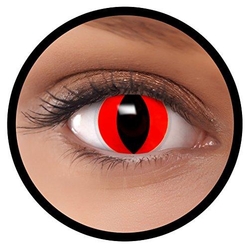 Farbige Kontaktlinsen Rote Katze + Behälter, weich, ohne Stärke in als 2er Pack (1 Paar)- angenehm zu tragen und perfekt für Halloween, Karneval, Fasching oder Fastnacht Kostüm