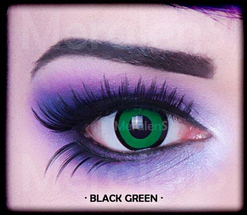 Meralens, weiche 12 Monatslinsen, Black Green, ohne Stärke, mit Behälter, 1 Paar ( 1 x 2 Stück)