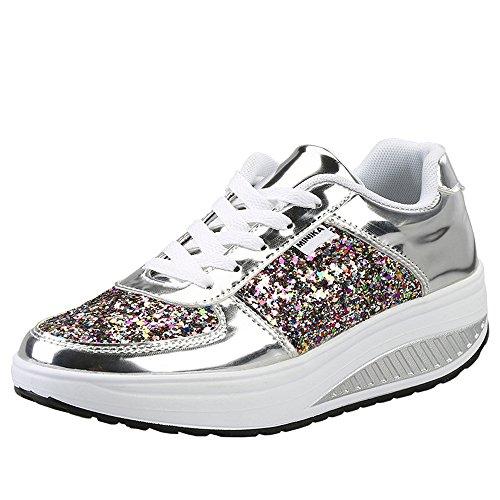 Damen Sneaker Bequeme Plateau Freizeitschuhe Frauen Fitness Sportschuhe Keilabsatz Laufschuhe Leicht Turnschuhe (42 EU, Silber)