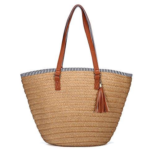 Stroh Strand Tasche, JOSEKO Sommer Handtaschen Schulter Tasche Tote mit Leder Griffe Quasten Frau Tasche Khaki