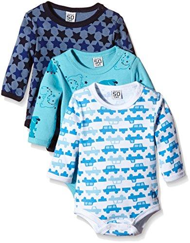 Care Baby - Jungen Langarm Body 3er und 6er Pack, Blau (Dark Navy 778), 9 Monate (Herstellergröße: 74 )