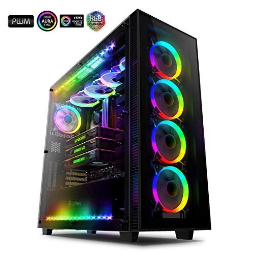 anidees AI Crystal XL RGB V3 Full Tower Gehärtetes Glas XL-ATX/E-ATX/ATX PC Gaming Gehäuse Unterstützung 480/360-Kühler, 5 x 120 PWM RGB Lüfter / 2 x RGB LED Streifen - Schwarz (NUR PC-Fall)