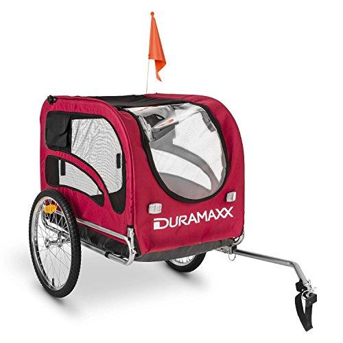 DURAMAXX • King Rex • Fahrradanhänger • Hundeanhänger • Lastenanhänger • kleine bis mittelgroße Hunde • Hochdeichsel • Laderaum: 250 Liter Volumen • Belastung: max. 40 kg • Kugel-Kupplung für Fahrräder mit 26'' - 28'' • zusammenklappbar • rot