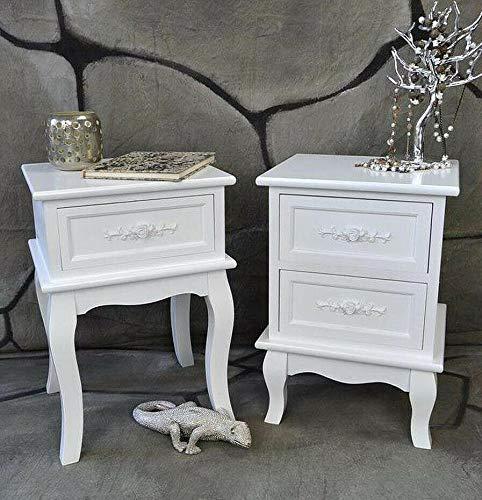 Livitat® Nachttisch Nachtschrank Nachtkonsole Nachtkommode Weiß barock LV4010