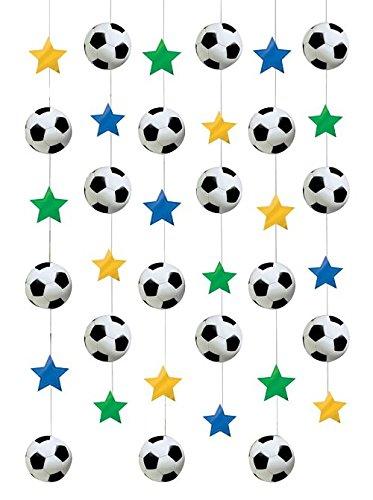 6-teilige Decken-Dekoration * FUSSBALL * für WM, EM oder eine Fußball-Party // Deko hängend Kinder