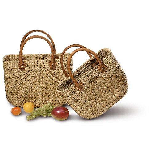 Neustanlo® Einkaufstasche/Einkaufskorb 1 Stk., aus Wasserhyazinthe, Maße: 430 x 180 x 300 mm, natur