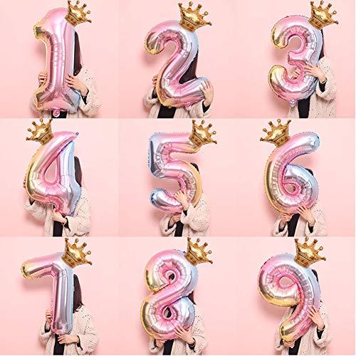 Kimilike 32 Zoll 0-9 Anzahl Crown Aluminiumfolie Ballon FüR Baby Shower Boy Kinder Geburtstag Party Deco 5#