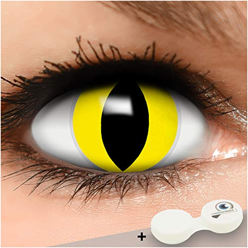 FUNZERA Farbige Kontaktlinsen Katze, in gelb und schwarz inklusive Kontaktlinsenbehälter, 1 Paar Linsen (2 Stück)