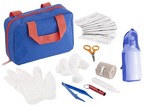 Sweetypet Verband-Tasche: 32-TLG. Erste-Hilfe-Set für Hunde mit Transport-Tasche & Wasserspender (Tier-Verbandskasten)