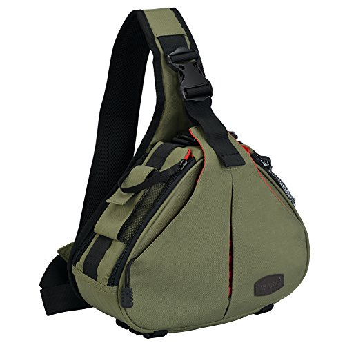 Caden Kompakte Kameratasche Sling Schulter Cross Bag Carry Umhängetasche Abnehmbare Gepolsterte Teiler für DSLR / SLR Sony Canon Nikon 1 Kamera 2 Objektiv Stativ(verde ejército)