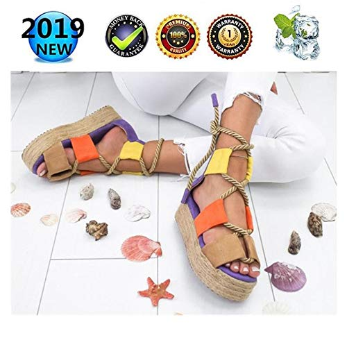 sandals Women Peep Toe Platform Espadrilles, Retro Wedges Ladies Summer Buckle Ankle Shoes Strappy Fashion Leather Flat Lace Up 3 cm High Heels, Casual Comfy Kontrastfarbe