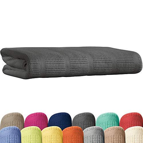 Erwin Müller Sommerdecke, Baumwolldecke - 100% Baumwolle grau Größe 150x200 cm - atmungsaktiv, weiche Qualität, luftig leicht, hautfreundlich - (weitere Farben, Größen)