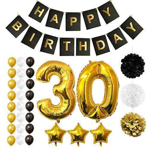 BELLE VOUS Luftballons Happy Birthday Banner Party Zubehör Set & Dekorationen Folienballons Geburtstag - Gold, Weiß & Schwarz Latex-Ballon-Dekoration - Dekor für alle Erwachsenen geeignet (Age 30)