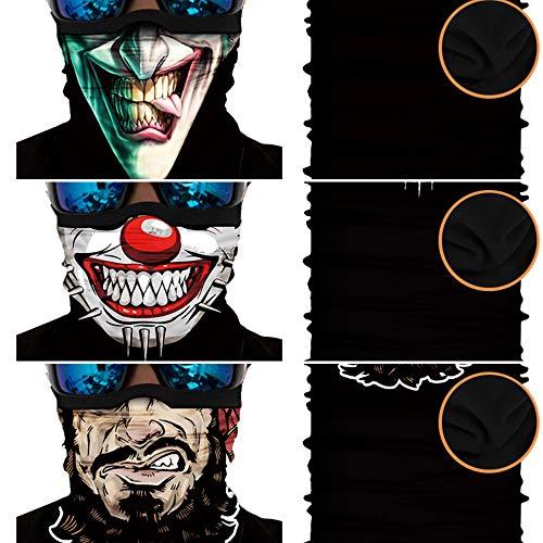 [3er Winter-Fleece] Bedrucktes Multifunktionstuch Bandana Halstuch Kopftuch: Face Shield- Material ist flexibel und atmungsaktiv - Maske fürs Motorrad-, Fahrrad- und Skifahren