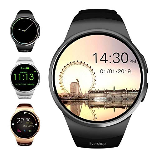 Evershop 1,5 Zoll IPS Runde SmartWatch Bluetooth Smartwatches mit SIM/TF Card Solt Sleep Monitoring Anti-Lost Heart Rate Monitor and Pedometer for IOS and Android System