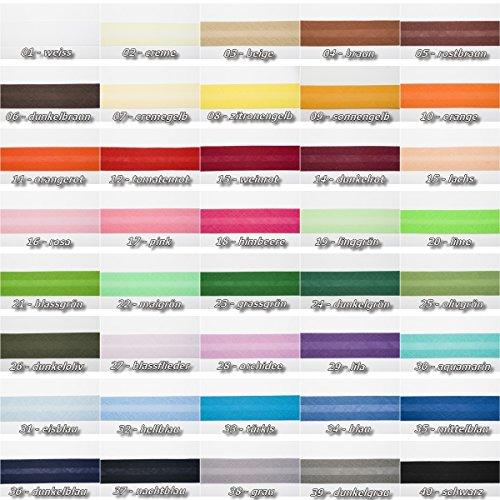Jajasio Baumwoll Schrägband 25mm breit in 40 Farben, Einfassband Baumwolle Nahtband/Farbe: 40 - schwarz