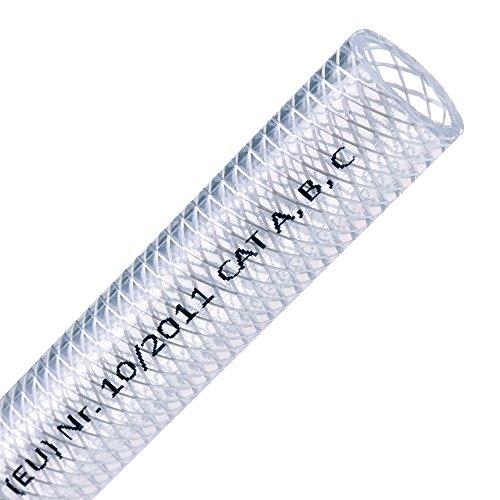 FLEXTUBE TX Ø 32mm x 5mm (1 1/4 Zoll), 5m lang PVC Schlauch mit Gewebe, Lebensmittelecht durchsichtig flexibel Druckschlauch Druckluftschlauch Lebensmittelschlauch Wasserschlauch Luftschlauch