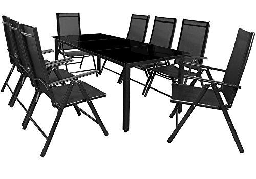 Deuba Sitzgruppe Bern 8+1   Aluminium   7-Fach verstellbare Hochlehner   Tisch mit Sicherheitsglas   Anthrazit - Garten Set