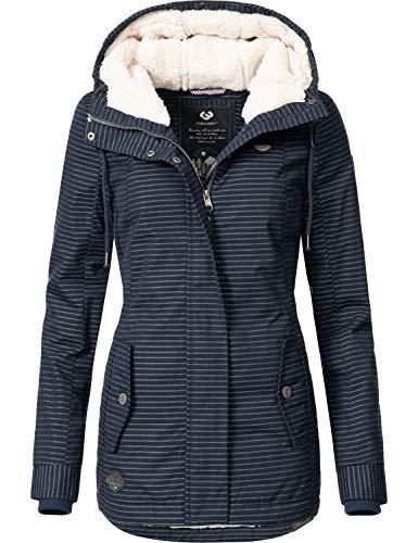 Ragwear Damen Winterparka Winterjacke Monade Navy Stripes018 Gr. XL