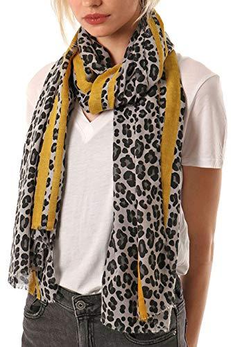 Style Slice Leopardenmuster Streifen Schal Damen - Pink Rot Rosa Blau Orange Creme Camel Braun Oliv - Tuch Tücher Groß Weich Gestreift - Damenmode Accessoires - Geschenk Frauen (Grau/Senf)