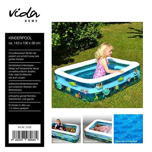 Vida GmbH Kinderplanschbecken Kinderpool Baby Badewanne eckig aufblasbarem Boden Balkon Bällebad Reisebett
