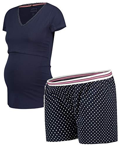 Noppies Schlafanzug GOTS-Zertifikat ❤️ Nursing Set Umstandsschlafanzug ❤️ Sleep Shirt + Hose Pyjama Nachtwäsche (L (40-42), Shorty & Schlafshirt (Night Sky))