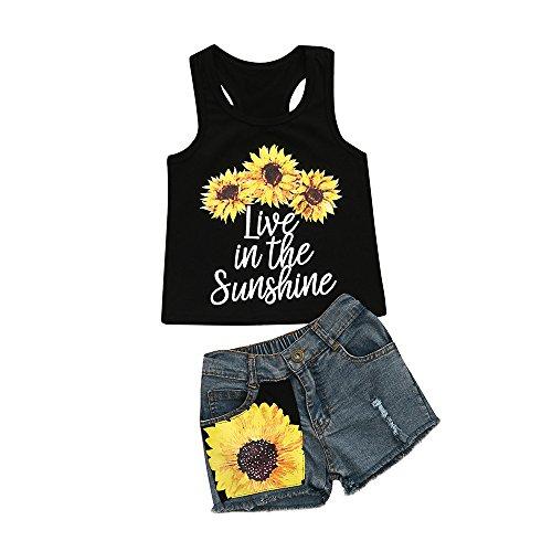 Allence Babykleidung Mädchen Off Schulter Crop Tops + Kurz Jeans Kinderbekleidung Blumen Drucken Kleider Set Kinder Kleidung Sommer Outfits